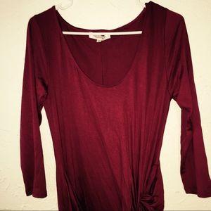 Quarter-Sleeve Midi Red Knot Dress